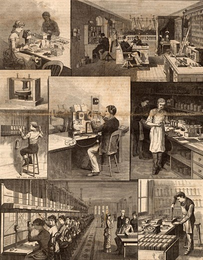 Bell Telephone Company, America.  Top left: Winding and inspecting coils. Top right: Experimental deparment. Centre right: First Bell telephone and First Boston telephone exchange with 5 lines (1877). Centre: Inspecting department.  Centre Right: Hand telephone department.  Bottom Left:  Boston Telephone Exchange, 1884.  Bottom Right:  Assembling Transmitters.