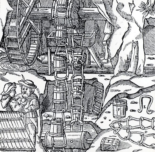 Stock Photo: 1746-1902 Chain of dippers (wooden buckets), powered by a water wheel being used to raise water from a mine.  From De re metallica, by Agricola, pseudonym of Georg Bauer (Basle, 1556).  Woodcut