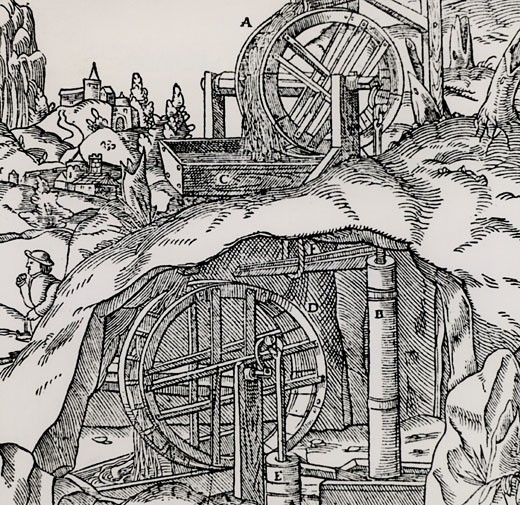 Raising water from a mine using two sets of overshot water wheels and suction pumps.  From De re metallica, by Agricola, pseudonym of Georg Bauer (Basle, 1556).  Woodcut. : Stock Photo