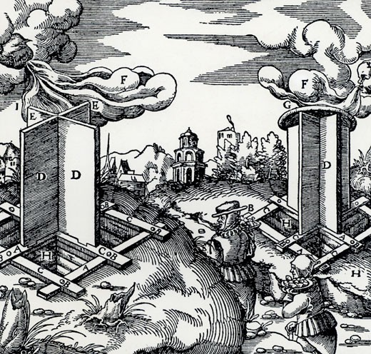 Revolving wooden wind vanes fitted to the top of mine ventilation shafts.  When they revolved they acted as extractor fans sucking stale air from the mine.   From De re metallica, by Agricola, pseudonym of Georg Bauer (Basle, 1556).  Woodcut : Stock Photo
