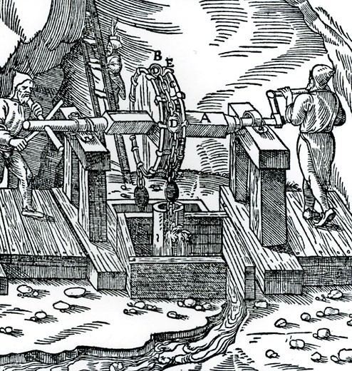 Rag-and-chain pump being used to raise water from a mine.   From De re metallica, by Agricola, pseudonym of Georg Bauer (Basle, 1556).  Woodcut : Stock Photo
