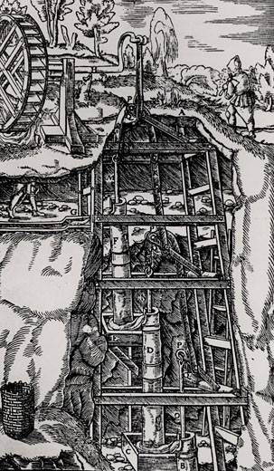 Stock Photo: 1746-1922 Suction pumps arranged in three tiers and linked by cranks.  Powered by a water wheel, they are being used to raise water from mine workings.  From De re metallica, by Agricola, pseudonym of Georg Bauer (Basle, 1556).  Woodcut.