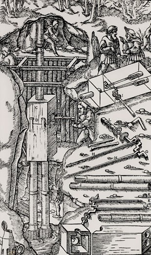 Stock Photo: 1746-1923 Draining a mine using a duplex suction pump.  The box ABCD, shown in detail on the right, contained the crank which operated the piston.  From De re metallica, by Agricola, pseudonym of Georg Bauer (Basle, 1556).  Woodcut.