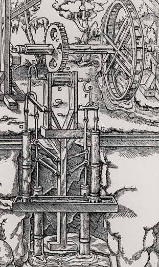 Multiple suction pumps, powered by an overshot water wheel through a spur wheel and lantern, being used to raise water from a mine. From De re metallica, by Agricola, pseudonym of Georg Bauer (Basle, 1556).  Woodcut : Stock Photo