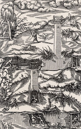 Stock Photo: 1746-1925 Cross-section of a mine, showing shaft and galleries at two different levels.  In the top left of the picture is prospecting for metals using divining rods (dowsing).  From De re metallica, by Agricola, pseudonym of Georg Bauer (Basle, 1556).  Woodcut.