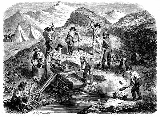 Stock Photo: 1746-193 Cradling for gold in the Californian gold fields Wood engraving published Paris 1849