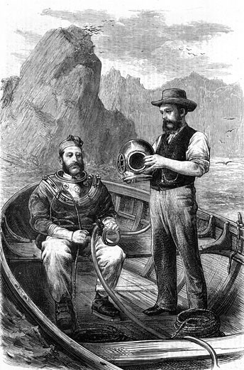 Diver being assisted into a Siebe and Gorman diving suit preparatory to diving down to a sunken wreck to recover treasure.  Illustration published 1870. : Stock Photo