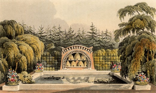 Stock Photo: 1746-1948 Design for garden with bee shelter with bee skeps and pool framed by trees including weeping willow (Salix babylonica). From Repository of Arts, R. Ackermann, (London, 1820).