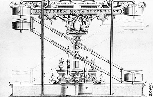 Perpetual motion machine described by the Jesuit Stanislaus Solski c1610. Water was pumped from reservoir alternately up the vertical pipes to the upper reservoirs A,B. The small reservoirs C,D were filled from them. E,F are pumps operated by the oscillation of the small reservoirs C,D. Engraving fr : Stock Photo