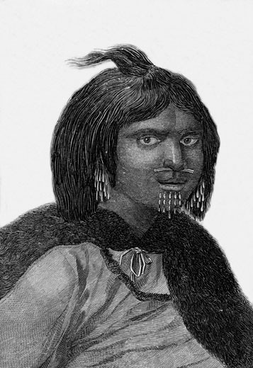 A woman from Prince William's Sound, Alaska. Engraving from Captain Cook's Original Voyages Round the World (Woodbridge, Suffolk, c1815). : Stock Photo