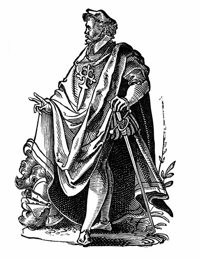 Knight Templar in travelling dress. Poor Knights of Christ and of the Temple of Solomon, founded c1119 to protect pilgrims from marauding Muslims. 16th Century Jost Amman (1539-1591 Swiss) Woodcut : Stock Photo