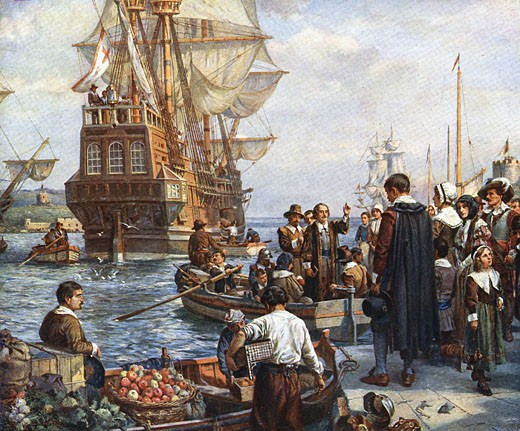 Stock Photo: 1746-1985 The Pilgrim Fathers boarding the 'Mayflower' for their voyage to America.  After painting by Bernard Gribble.