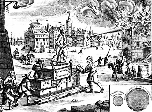 Stock Photo: 1746-1994 Fire engine. From Georg Andreas Bockler Theatrum Machinarum Novum, Nuremberg, 1673. Engraving