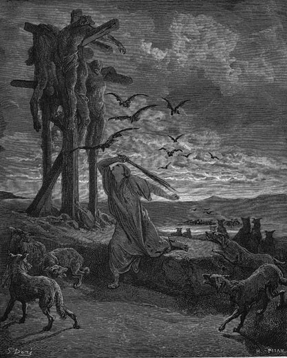 "Rizpah, king Saul's concubine, stopping the birds and beasts devouring the bodies of her sons and five others killed by the Gibeonites as a harvest sacrifice after famine. From Gustave Dore's illustrated ""Bible"" 1866. Wood engraving : Stock Photo"