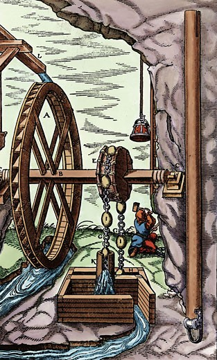 Stock Photo: 1746-2013 Mine being drained by a rag-and-chain pump powered by overshot water wheel. At right is detail of section of pipe K. From Agricola De re metallica, Basle, 1556.