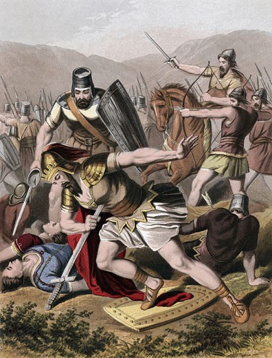 "Death of Saul and his armour bearer in battle with the Philistines. Rather than be captured, they fell on their swords. ""Bible"" I Chronicles. Chromolithograph by J.M. Kronheim & Co c1870  : Stock Photo"