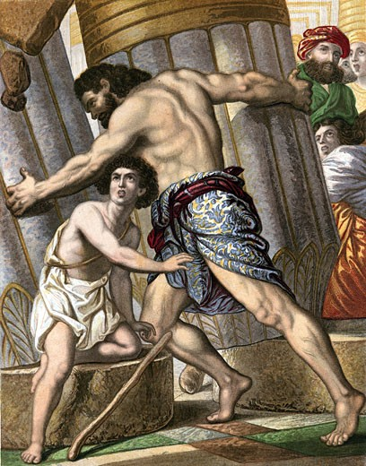 Stock Photo: 1746-2039 Samson pulling down the Temple of Dagon, god of the Philistines. Bible: Judges XVI. Mid-19th century chromolithograph