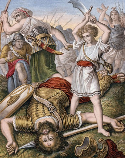 "Stock Photo: 1746-2041 David, having killed the Philistine giant, Goliath, with stone from his sling, makes sure that Goliath is really dead. ""Bible"" 1 Samuel 17:I.  Goliath 6 cubits (approx 3m tall) Chromolithograph c1860"