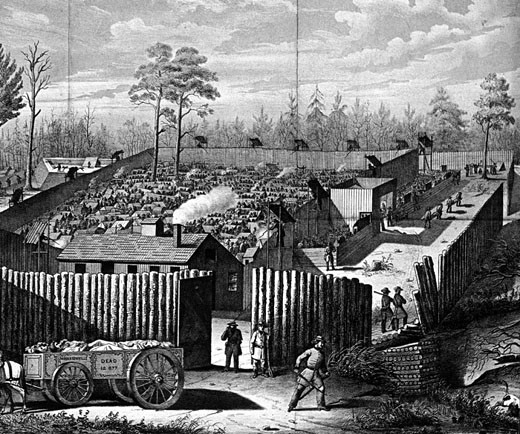 Stock Photo: 1746-2053 American Civil War: Prison stockade at Andersonville, Georgia. During summer of 1864 32,899 Union (northern) prisoners were confined here. In the National Cemetery at Andersonville 12,912 who did not survive are buried. In left foreground the dead cart is taking away bodies.