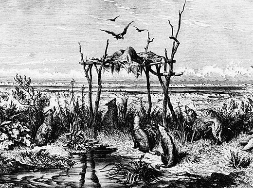 Stock Photo: 1746-2067 Burial customs: Body left exposed on raised wooden platform: North American Indians in region of Saskatchewan river. Wood engraving c1870