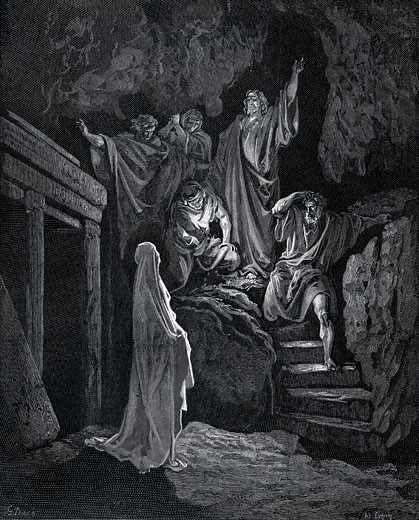 """Jesus raising Lazarus from his tomb. John 2:43 From Gustave Dore illustrated """"Bible"""" 1865-66. Wood engraving : Stock Photo"""