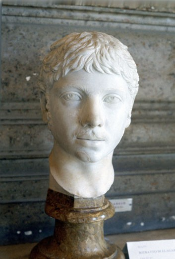 Heliogabalus (204-22) Roman Emperor from 218. Murdered by praetorians in palace revolution. Marble bust. : Stock Photo