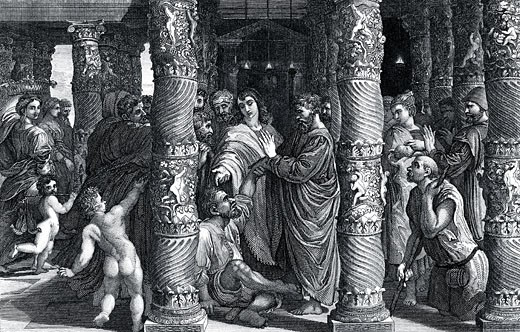 "Stock Photo: 1746-2098 Peter and John at the Beautiful Gate. 'Silver and gold have I none, but such as I have give I to thee?'.   ""Bible"" Acts 3.6. Wood engraving"