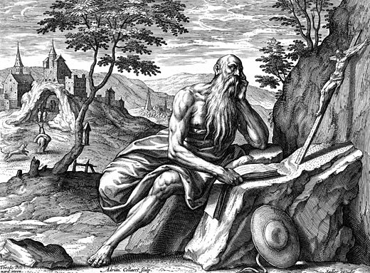 Stock Photo: 1746-2103 Saint Jerome (c342-420) Eusebius Sophronius Hieronymus: Leading father of the Christian church. Prepared first Latin translation of the Bible from Hebrew (Vulgate) Adrian Collaert (c1520-67) Engraving