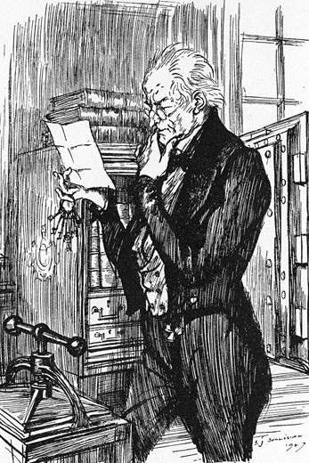 Stock Photo: 1746-2114 Mr Utterson, reading Hyde's letter to Jekyll, realising that the handwriting of the two is the same., From The Strange Case of Dr Jekyll and Mr Hyde, The novella written by Robert Louis Stevenson, first published 1886, Illustration by Edmund J. Sullivan (1866-1933/English)
