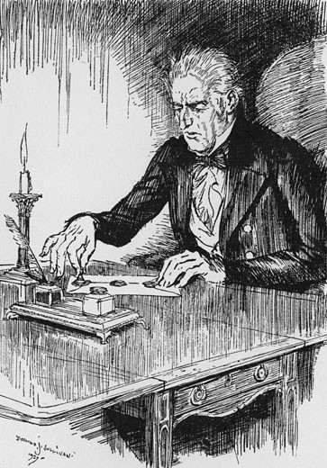 Dr Jekyll, having written down his confession to being the murderer Hyde, seals the document., From The Strange Case of Dr Jekyll and Mr Hyde, The novella written by Robert Louis Stevenson, first published 1886, Illustration by Edmund J. Sullivan (1866-1933/English) : Stock Photo
