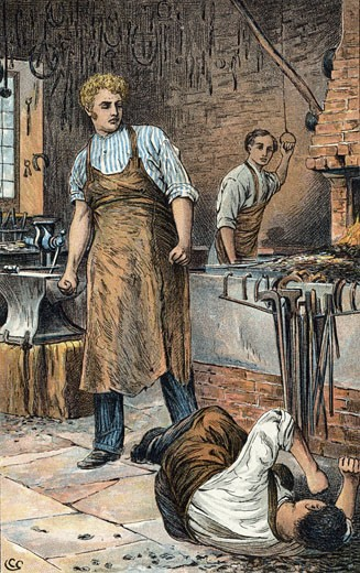 Joe Gargery, the gentle giant, provoked to violence in his smithy. In the background his brother-in-law Philip Pirrip (Pip), the hero of the novel, works the bellows., From Great Expectations by Charles Dickens, Illustration by Charles Green (1840-1898/British) : Stock Photo
