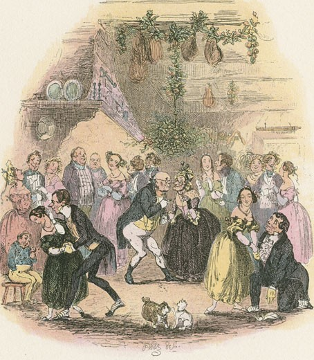 Stock Photo: 1746-2131 Christmas Eve at Mr Wardle's. Mr Pickwick kisses a lady under the mistletoe bough., From Posthumous Papers of the Pickwick Club by Charles Dickens, Illustration by Phiz or Hablot Knight Browne (1815-1882/British)