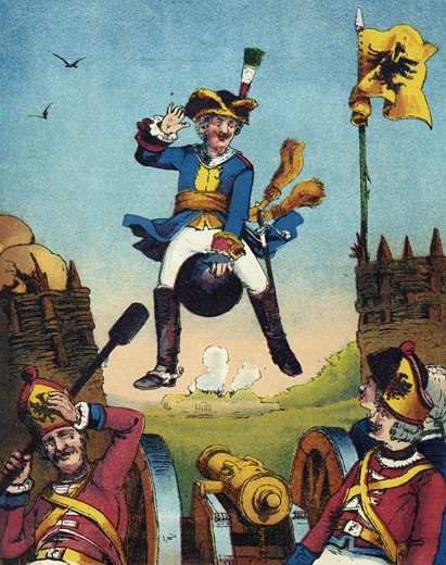 Stock Photo: 1746-2137 Munchausen, surprising artillerymen by arriving in their midst mounted on a cannon ball., From The Travels and Surprising Adventures of Baron Munchausen by Rudolph Erich Raspe, first published 1785., Chromolithograph from a French edition c1850