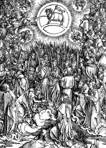 The Revelation of St. John (Apocalypse) The Adoration of the Lamb and the Hymn of the Chosen Albrecht Durer (1471-1528 German) Woodcut, c.1498  : Stock Photo