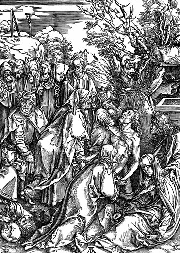The Entombment. One of seven woodcuts for The Great Passion series c.1497-1500 Albrecht Durer (1471-1528 German) Woodcut : Stock Photo