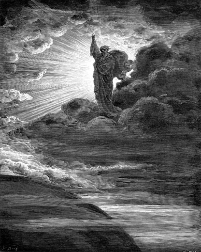 "Stock Photo: 1746-2155 God creating light. Old Testament: Genesis. From Gustave Dore's illustrated ""Bible"", 1866. Wood engraving"