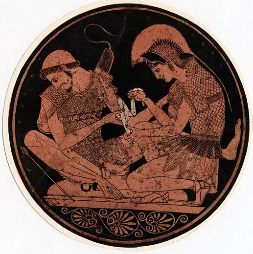Achilles, hero of Homer's epic poem Iliad, bandaging the wound of his firend Patroclus. Decoration on the base of an antique vase : Stock Photo