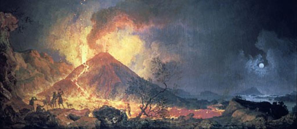 Eruption of Vesuvius by Pierre Jacques Votaire,(1729-1790) French painter.  Oil on canvas. Musee des Beaux Arts, Le Havre. : Stock Photo