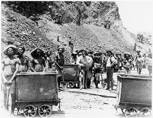 Stock Photo: 1746-2222 Zulu men at De Beers diamond mines, South Africa. From photograph taken c.1885.