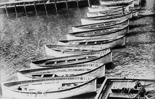 Stock Photo: 1746-2239 The loss of SS Titanic, 14 April 1912: The lifeboats. All that was left of the greatest ship in the world - the lifeboats that carried most of the 705 survivors.
