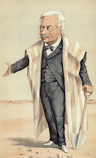 Stock Photo: 1746-2266 Ferdinand de Lesseps, 1805-94, French diplomat and entrepreneur, Suez Canal; Panama Canal, Cartoon from Vanity Fair, London, November 1869, during construction of the Suez Canal, Cartoon, Construction,