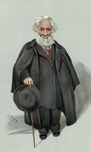 Stock Photo: 1746-2270 William Huggins (1824-1910) British astronomer and spectroscopist. Inventor of solar spectroscope. 'Spy' (Leslie Ward) cartoon from Vanity Fair London 1903