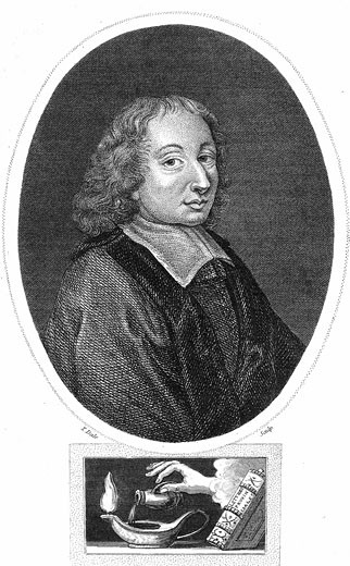 Blaise Pascal (1623-62) French philosopher, mathematician, physicist and theologian. Stipple engraving 1821 : Stock Photo
