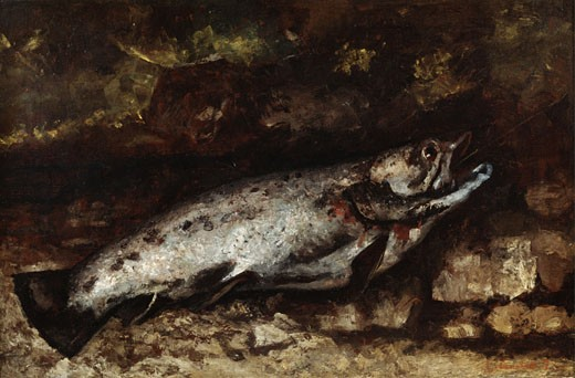 The Trout, 1872, Gustave Courbet, (1819-1877/French), Oil on canvas : Stock Photo