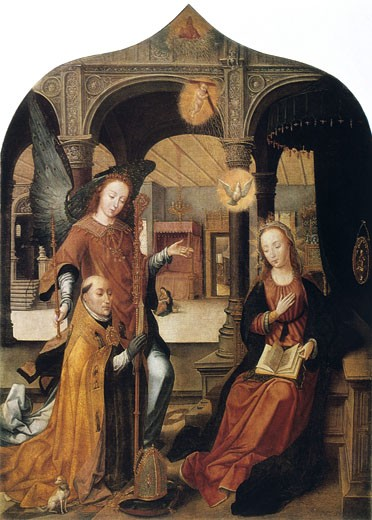 Annunciation 1516-1517 Jean Bellegambe (ca.1480-ca.1534 Netherlandish) State Hermitage Museum, St. Petersburg, Russia : Stock Photo