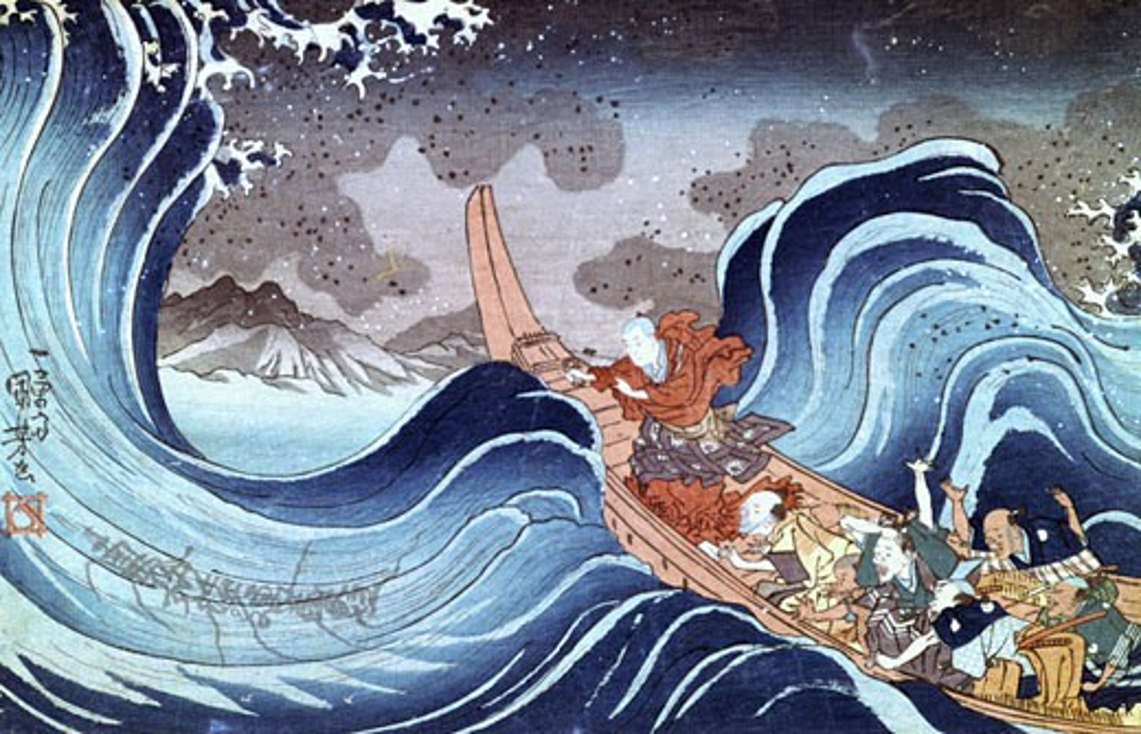 The Buddhist Monk calms the storm', Utagawa Kuniyoshi, (c.1798-1861) Japanese artist : Stock Photo
