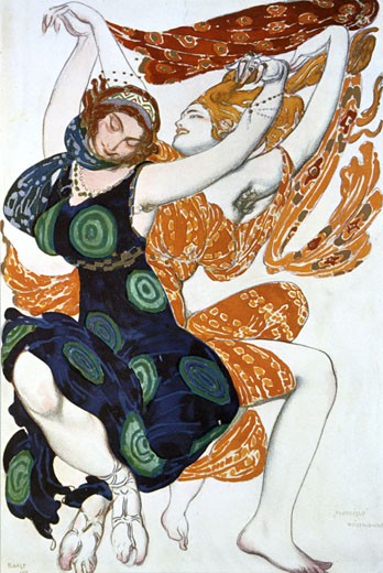 Stock Photo: 1746-2413 Narcisse, two Bachanalian dancers , 1911, Leon Bakst, (1866-1924/Russian)