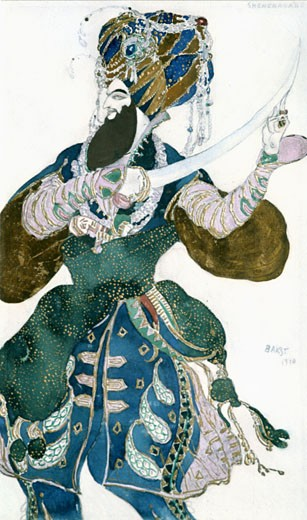Costume design for Scheherazade(Rimsky Korsakov), Leon Bakst, (1866-1924/Russian) : Stock Photo