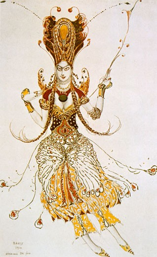 Costume for The Firebird, Leon Bakst, (1866-1924/Russian) : Stock Photo