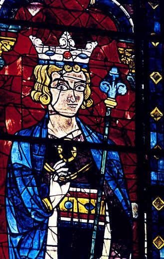 King Solomon. Stain glass window from the cathedral of Chartres 13th century : Stock Photo